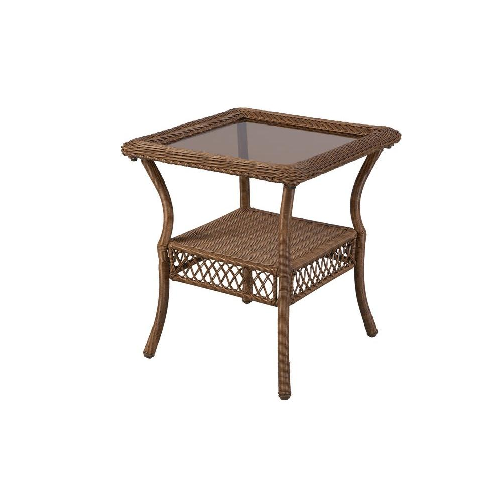 hampton bay spring haven brown all weather wicker patio side table outdoor tables umbrella accent runner for square mid century console inexpensive lamps lenovo iron chairs wood