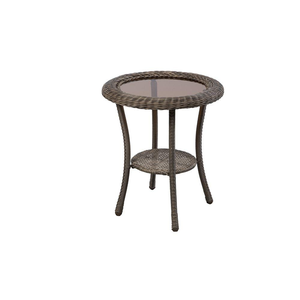 hampton bay spring haven grey round wicker outdoor patio side table tables and chairs pedestal accent wood brass glass end top egg chair bunnings dining room decor small with leaf
