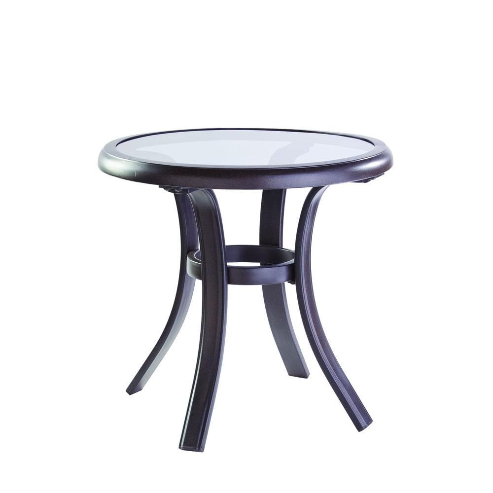 hampton bay statesville patio side table the outdoor tables glass top metal pedestal base mosaic garden and chairs peva tablecloth bunnings couch tiffany style desk lamp entryway
