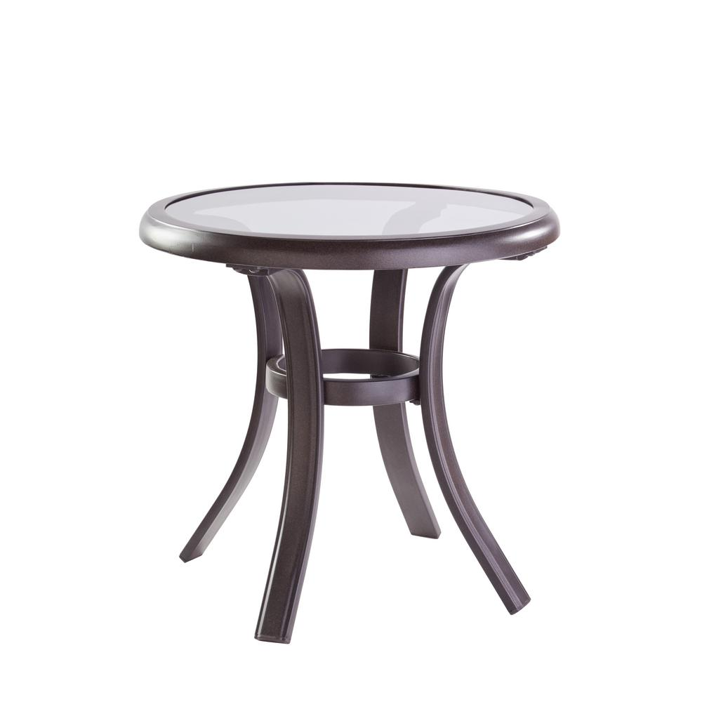 hampton bay statesville pewter aluminum outdoor side table tables ashley furniture chair and half yard umbrella weber grill dining cloth design bedroom night lamps bunnings garden
