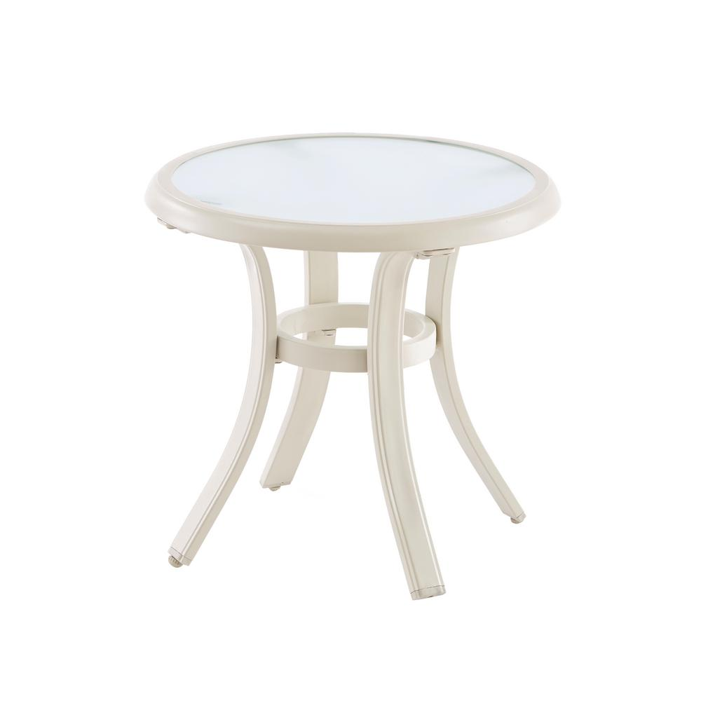 hampton bay statesville shell round aluminum outdoor side table tables weber grill ashley furniture chair and half iron frame queen small moon console with drawer cream lamp