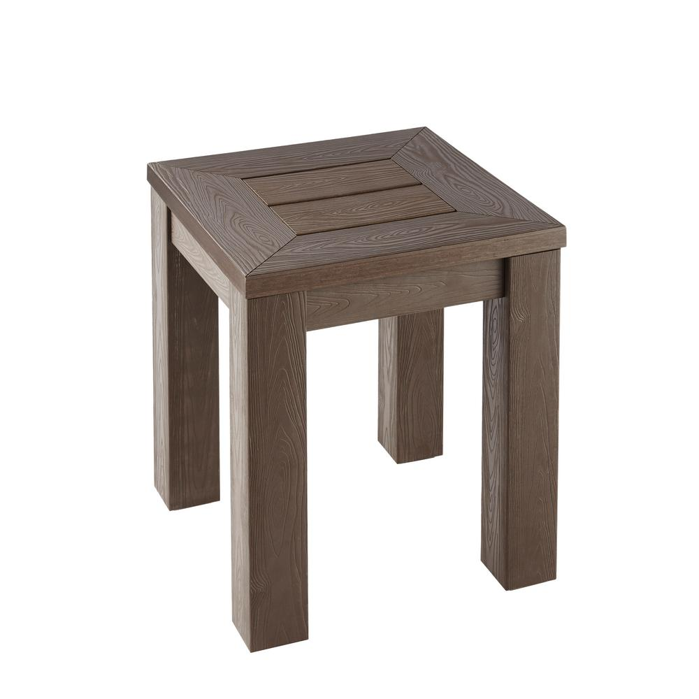 hampton bay tacana all weather faux wood outdoor side table tables pier one furniture clearance grey marble dorm stuff brown coffee and end diy cocktail small with shelves top
