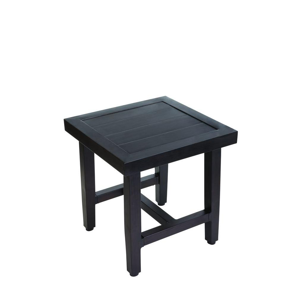hampton bay woodbury metal outdoor patio accent table the side tables black rattan garden furniture homebase red decor kitchen and dining room chairs unfinished small indoor barn