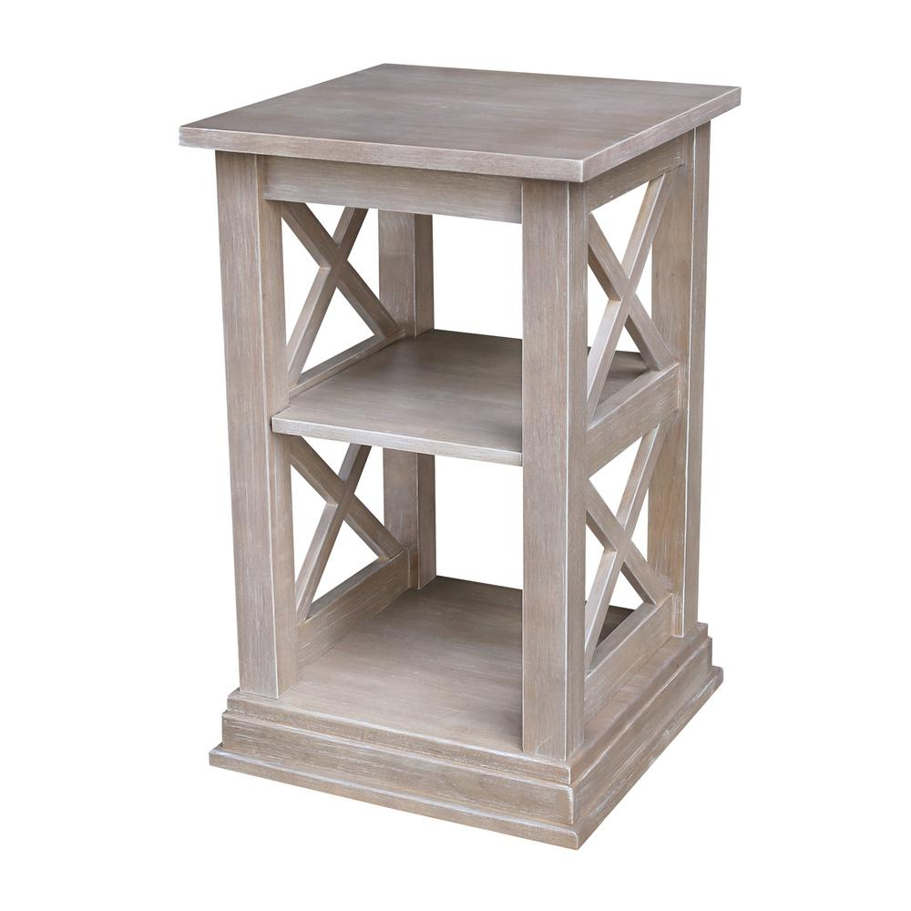 hampton weathered taupe gray accent table the end tables tiffany stained glass lamp collapsible trestle west elm chandelier folding nic bunnings front door console kids side small