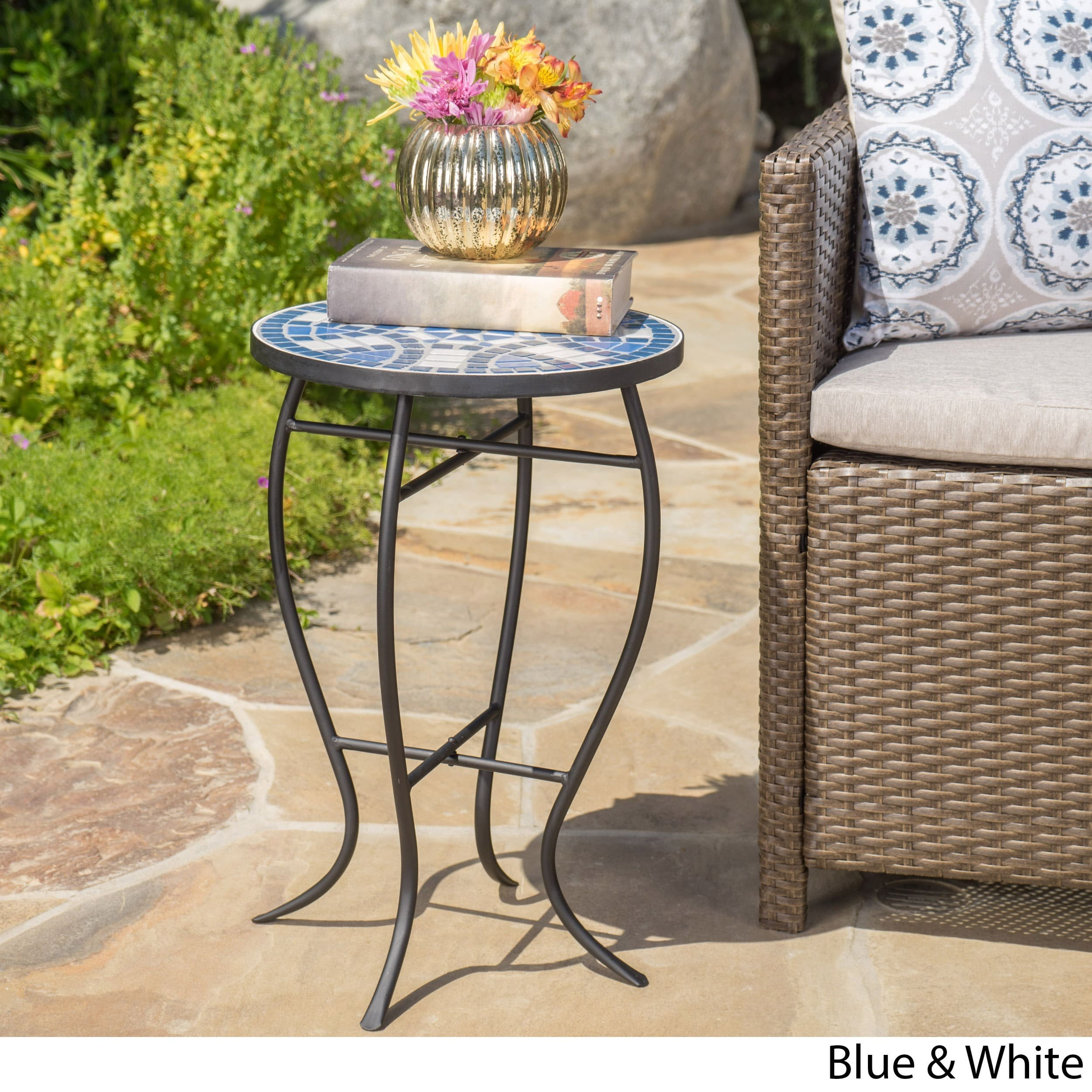 han outdoor round tile side table christopher knight home wrought iron patio accent free shipping orders over white end retro designer chairs blue and asian lamps orange bathroom