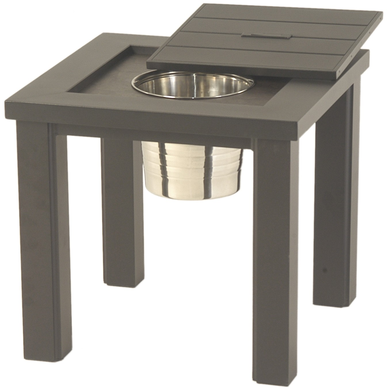 hanamint sherwood square ice bucket side table outdoor with small leather chair cool home decor high accent battery operated mini lamps black patio furniture mid century modern