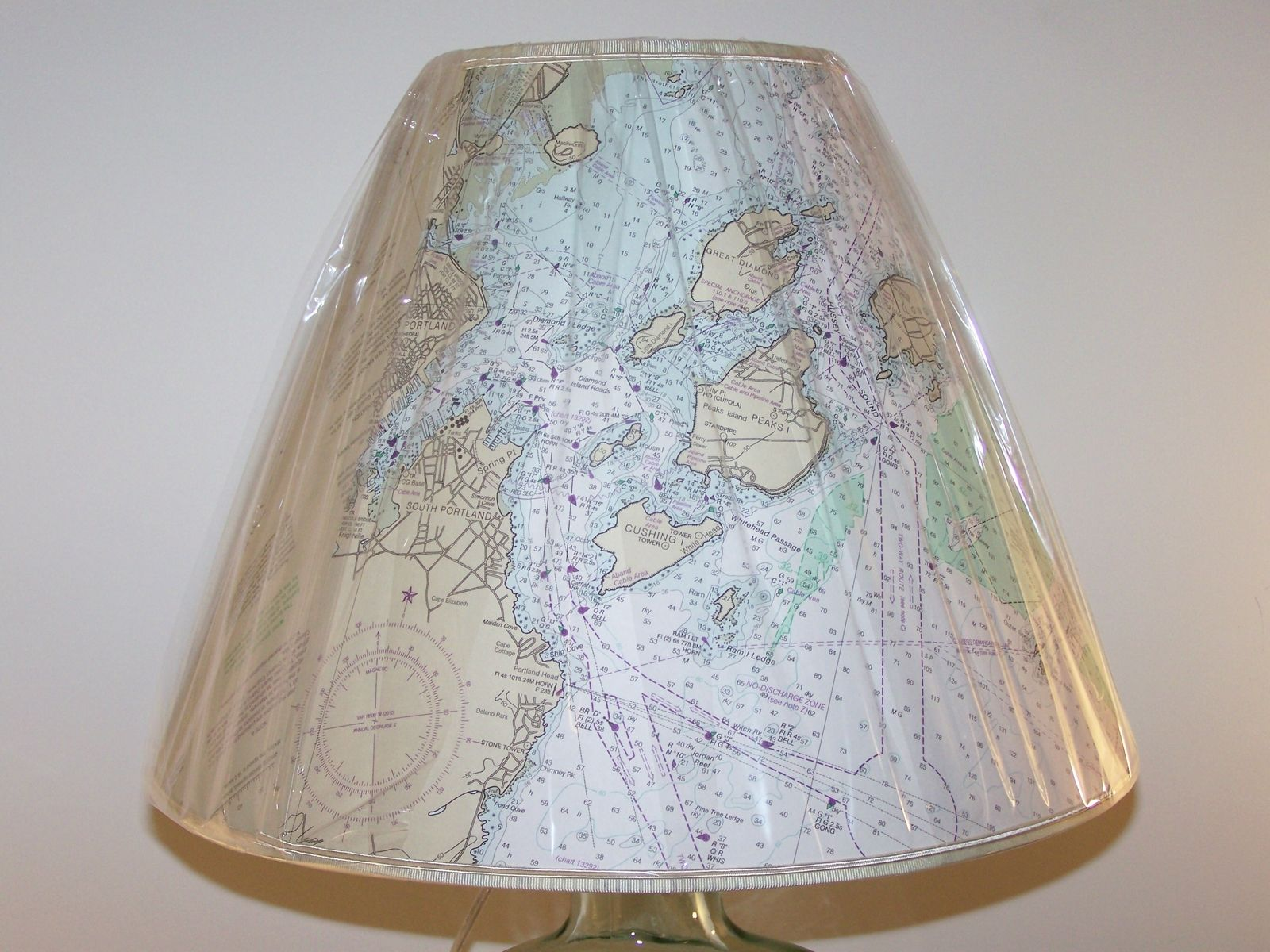 hand crafted custom made nautical chart lampshade barbara gail accent table lamps antique kidney dale tiffany dragonfly marble tulip side istikbal sofa furniture vintage retro