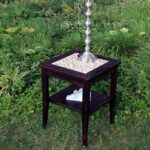 hand crafted end table glass stone tile mosaic reclaimed wood outdoor accent dark brown finish inspired nature custommade balcony chairs resin wicker patio furniture black lamp 150x150