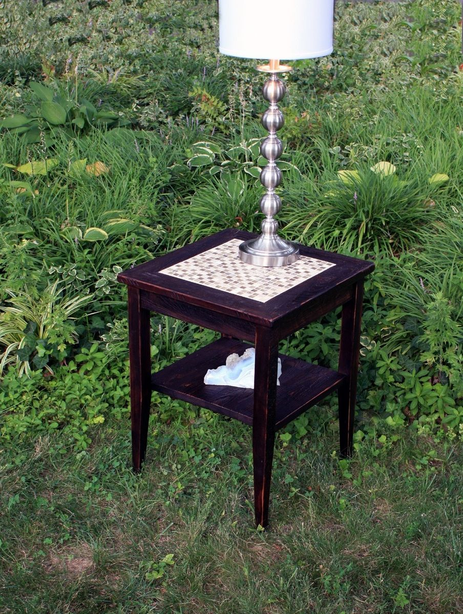 hand crafted end table glass stone tile mosaic reclaimed wood outdoor accent dark brown finish inspired nature custommade balcony chairs resin wicker patio furniture black lamp
