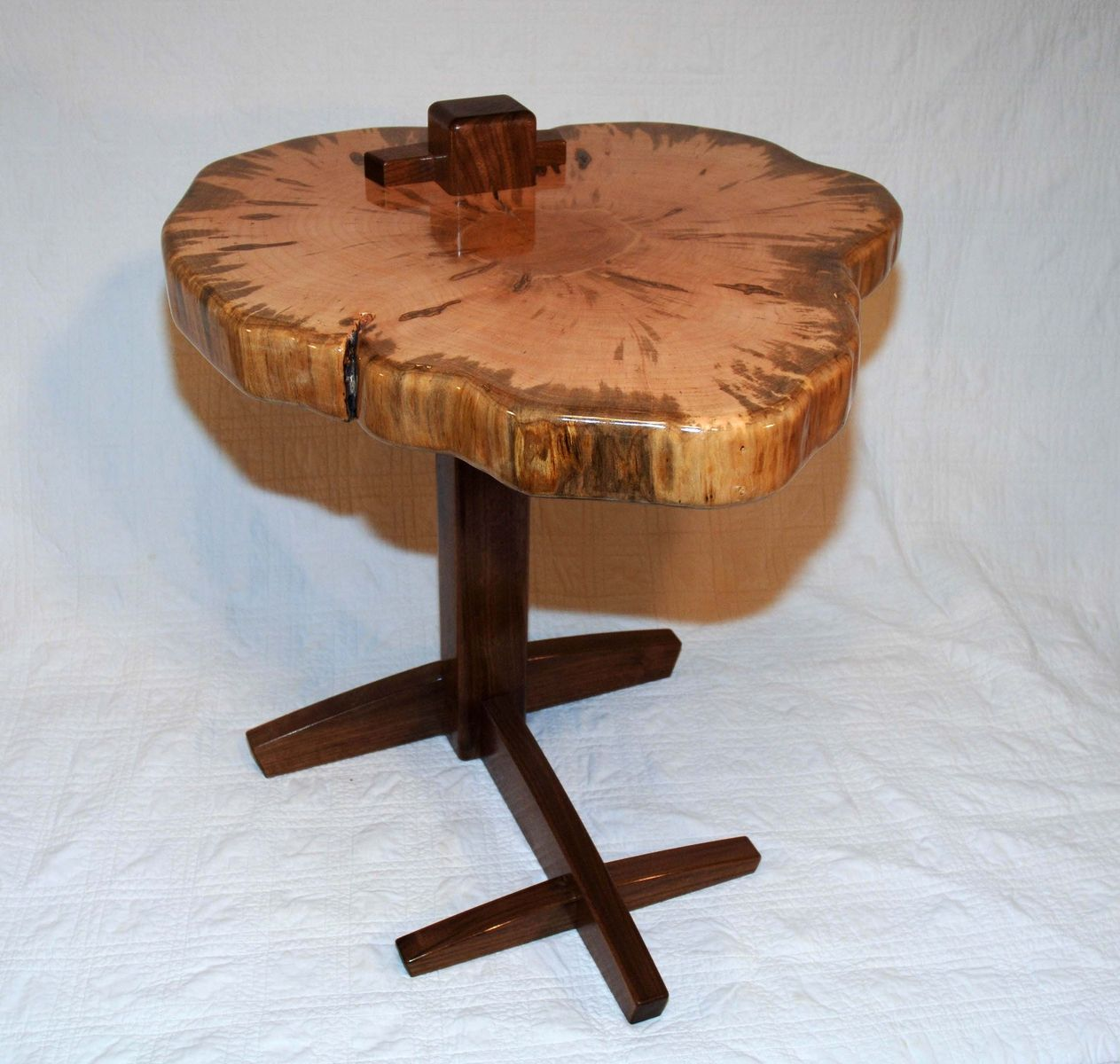 hand crafted maple slab side table natural mystic woodwork wood accent custom made black half moon tiffany style lamp nesting end tables living room coffee house hall decoration