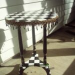 hand crafted painted black and white checked accent table round pedestal custom made vintage brass glass coffee dining with wicker chairs ikea large chair rustic wood target high 150x150