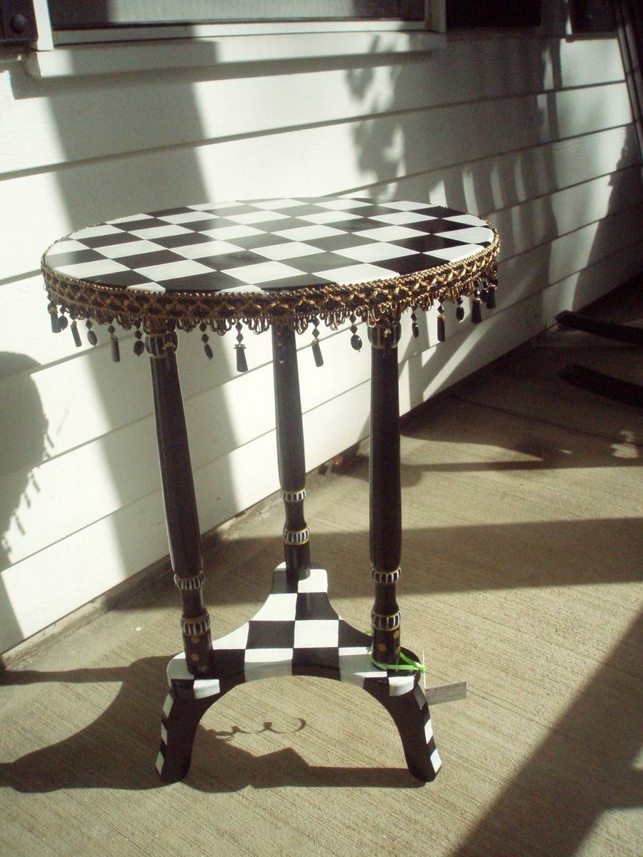 hand crafted painted black and white checked accent table round pedestal custom made vintage brass glass coffee dining with wicker chairs ikea large chair rustic wood target high