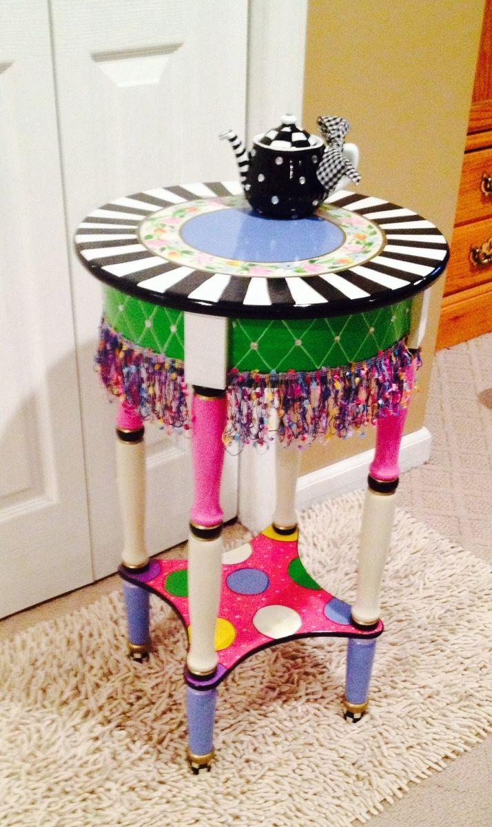 hand crafted painted round side accent table custom design with tablecloth made outdoor mats jcpenney shower curtains nautical decor inch height end peekaboo acrylic coffee