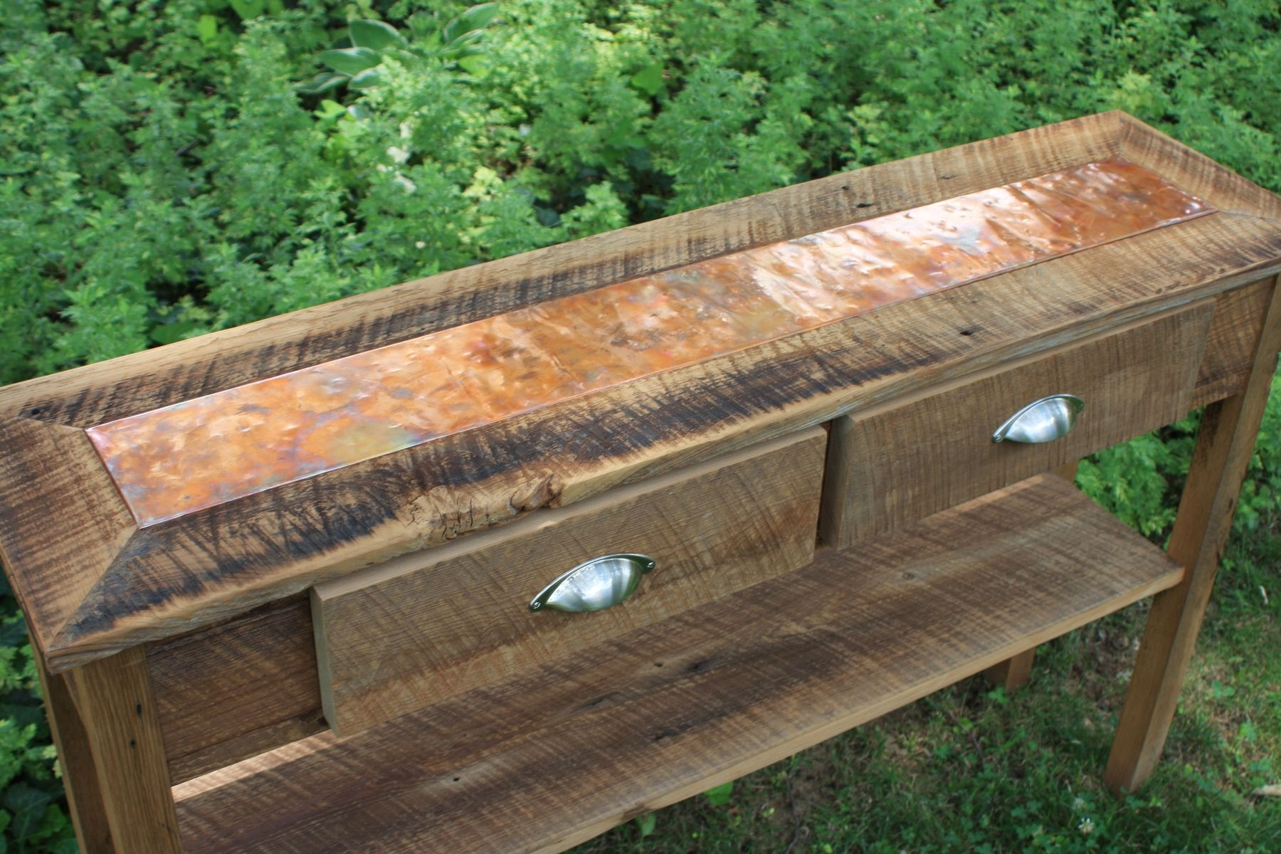 hand crafted sofa table entry distressed copper inlay emerald green accent custom made reclaimed wood rustic small cherry decorative wine rack headboard with lights tablecloth for