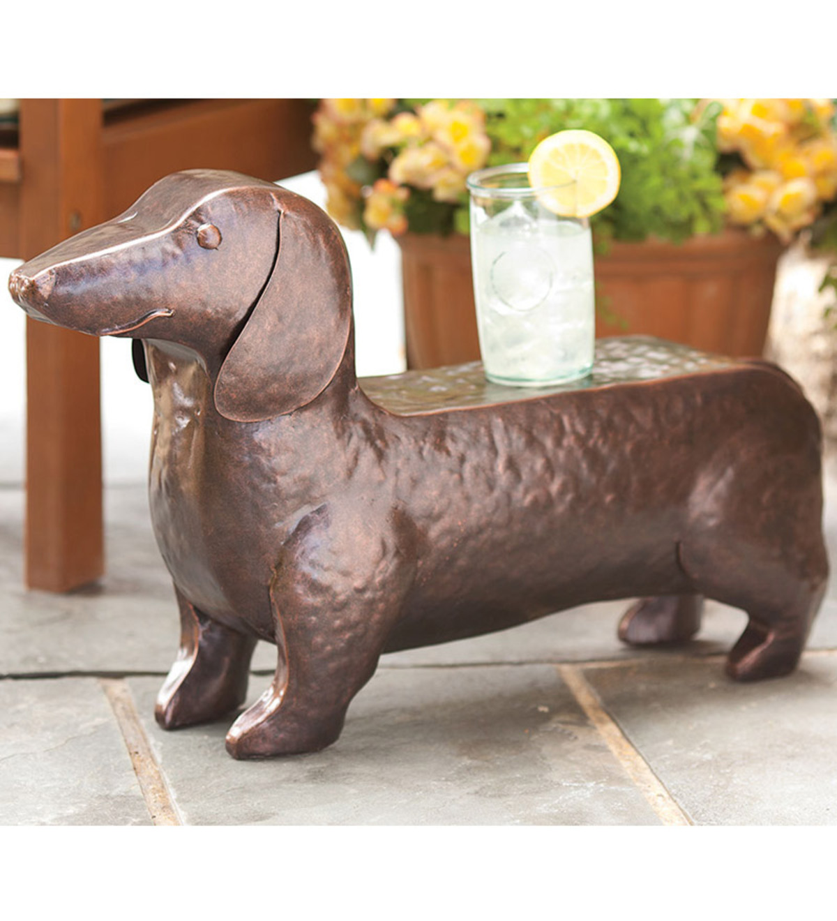 hand hammered iron dachshund dog accent table plowhearth metal round oak side grey tufted chair cabinet paint glass with shelf washable tablecloth dining room and sets linen small