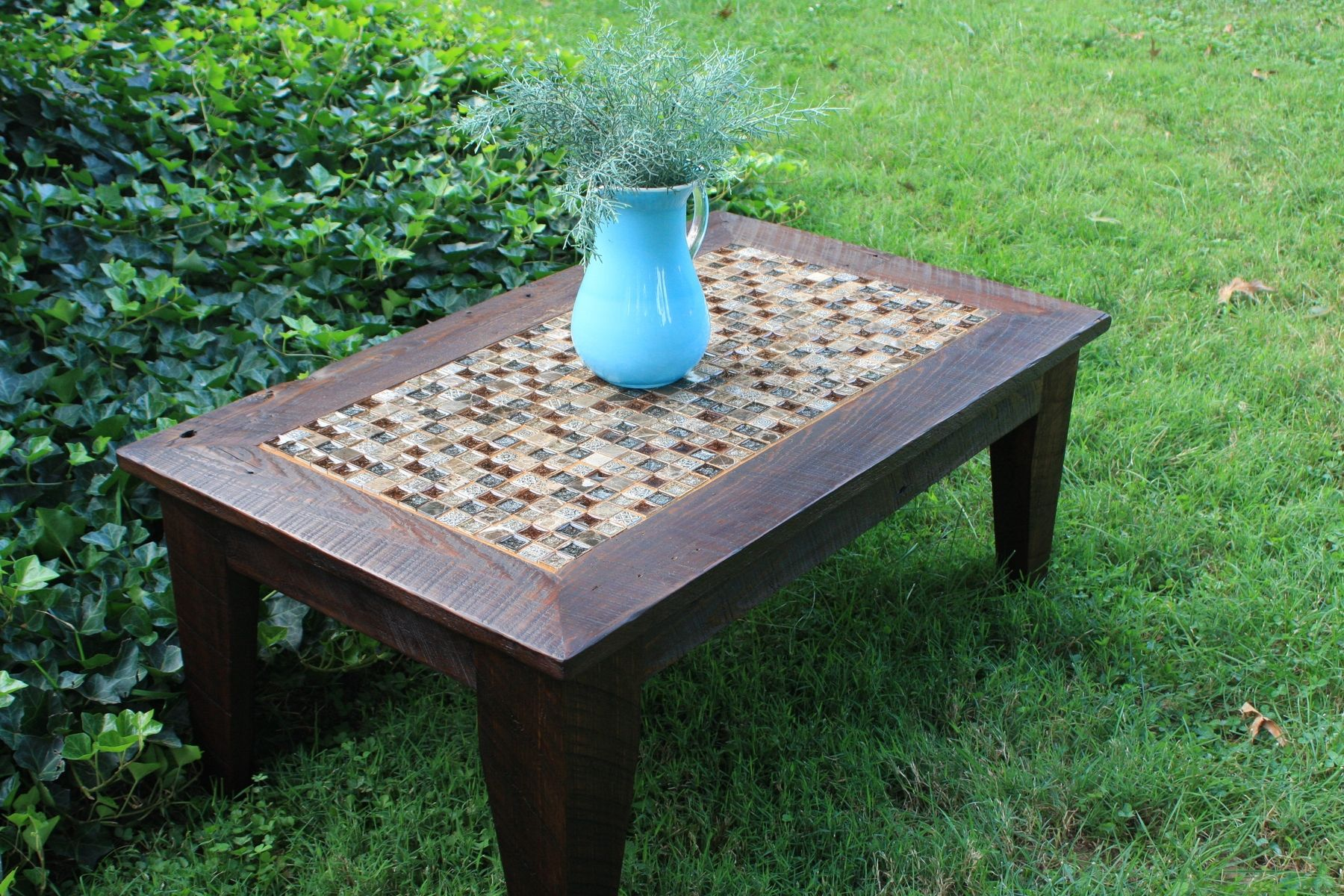 hand made coffee table glass stone tile mosaic reclaimed wood outdoor accent custom rustic contemporary slim mirror small blue lamp deck umbrella chests and consoles furniture