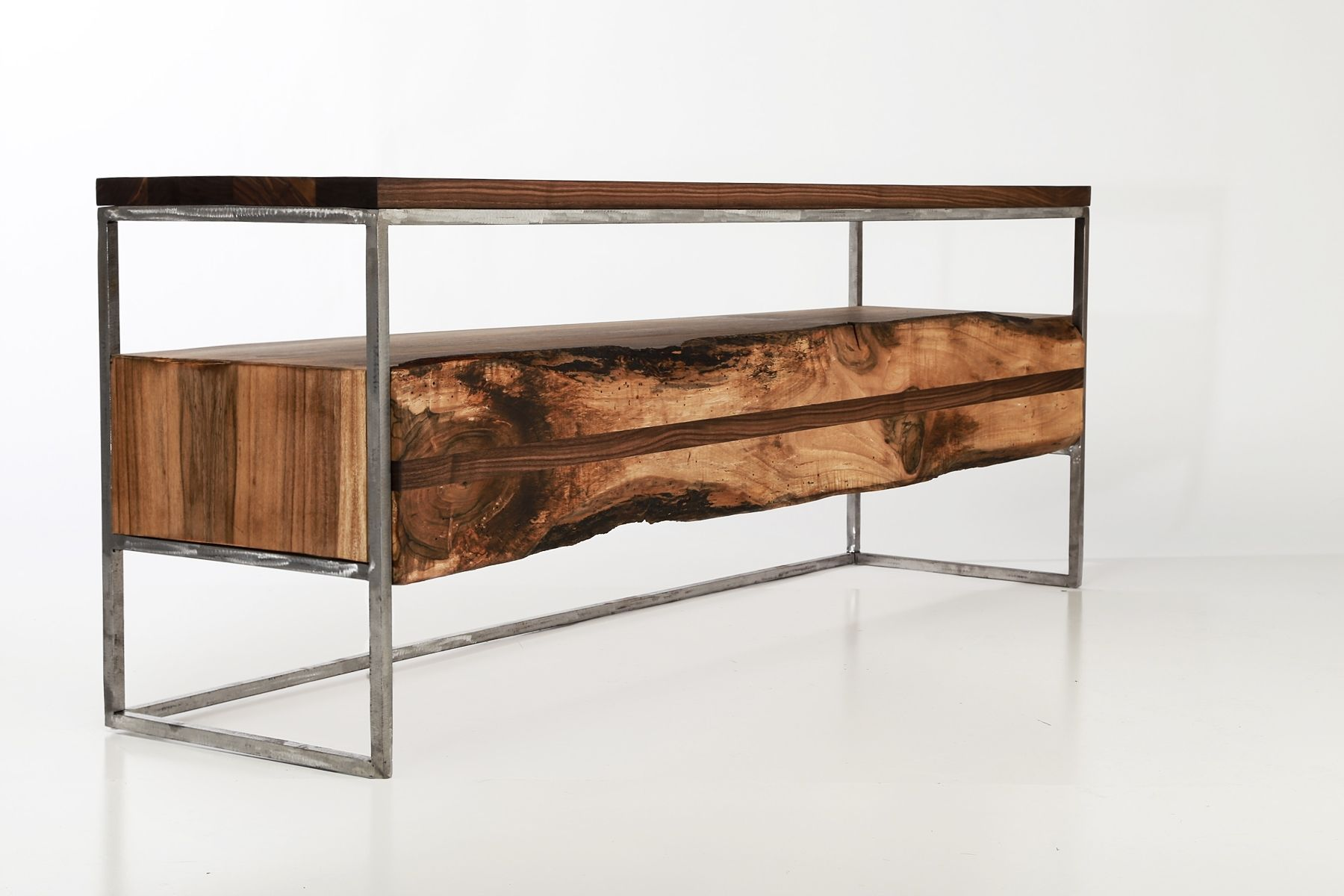 hand made flitch media console stand industrial rustic anton wood accent table custom pulaski furniture outdoor perth dark farmhouse antique oak side brown glass coffee office