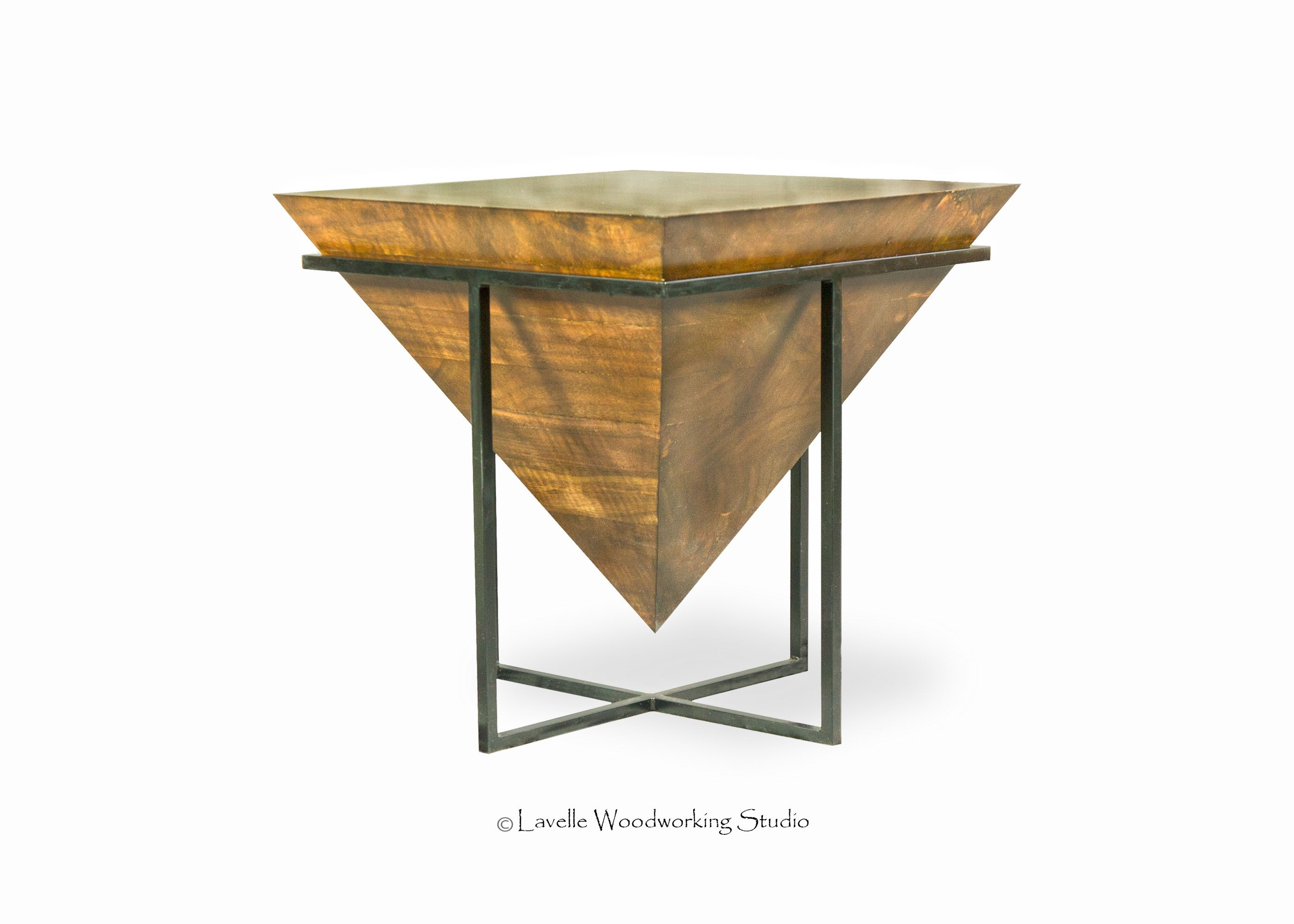 hand made mara table inverted wood pyramid with metal base nightstand custom big dresser mirror modern lamps for living room inch craigslist mattress corner dining set ikea