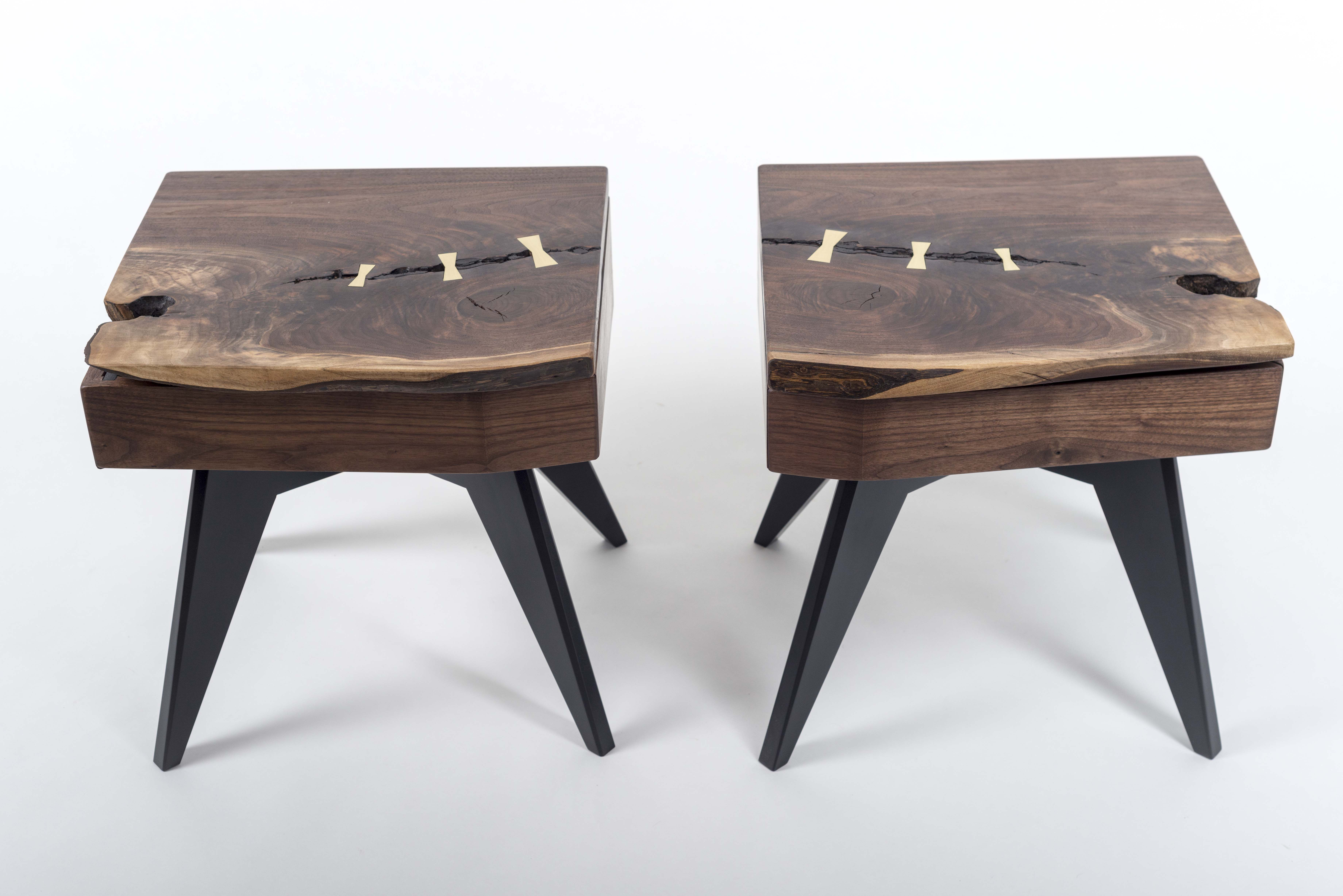 hand made matching walnut slab nightstands with brass lamp touch wood accent table custom sensors stool and metal furniture glass console acrylic coffee toronto rugs leg