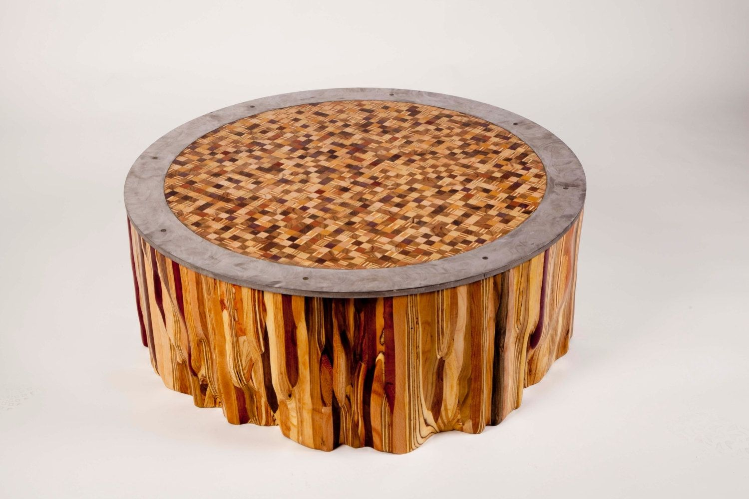 hand made mixed wood mosaic end grain top coffee table fast accent custom red lamp peva tablecloth battery operated lamps ikea narrow knotty pine chairs nate berkus bedding