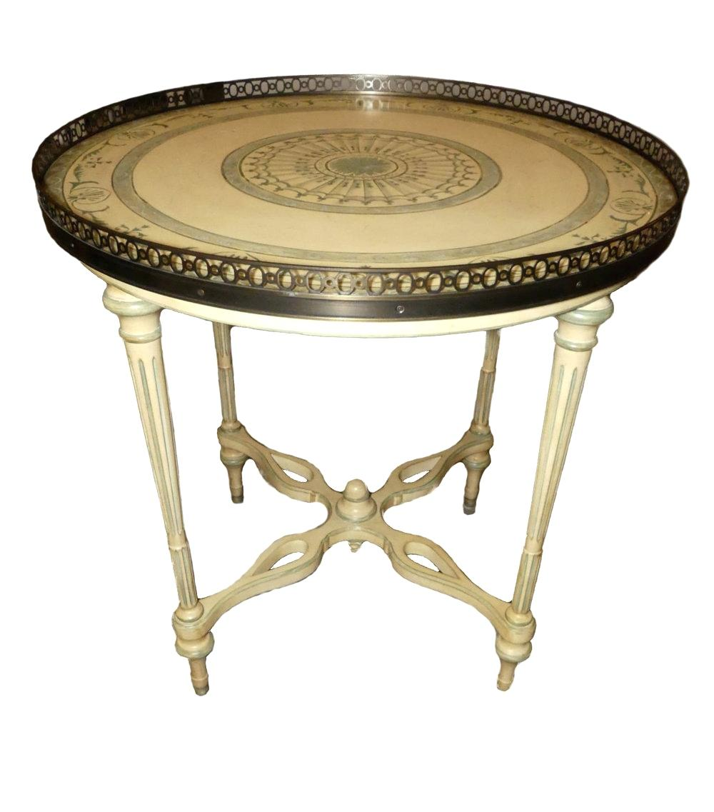 hand painted accent tables office star products round table with pierced brass gallery neoclassical furniture antique leick recliner wedge end home decorators catalog target patio