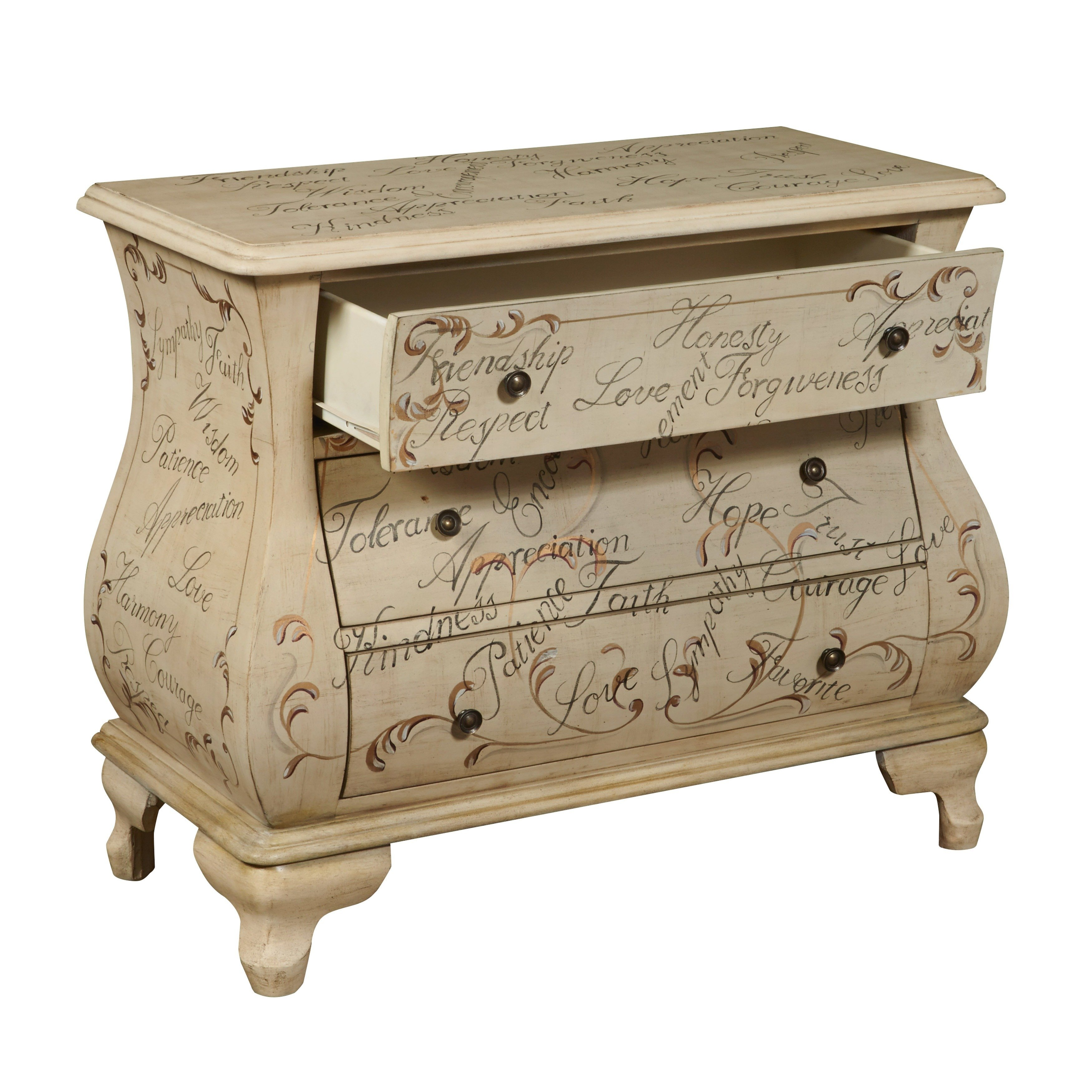 hand painted distressed antique ivory bombay chest company marble top accent table free shipping today glass tea rustic living room tables shabby chic dresser homemade coffee