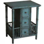 hand painted distressed blue finish accent table free shipping today elegant dining room furniture sets slim end antique claw foot coffee charcoal grey occasional tables with 150x150