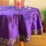 hand painted floral round tablecloth banarsi designs plumpurple accent hairpin table legs glass lamp shades lawn furniture small outdoor teak side arcadia battery operated led 150x150