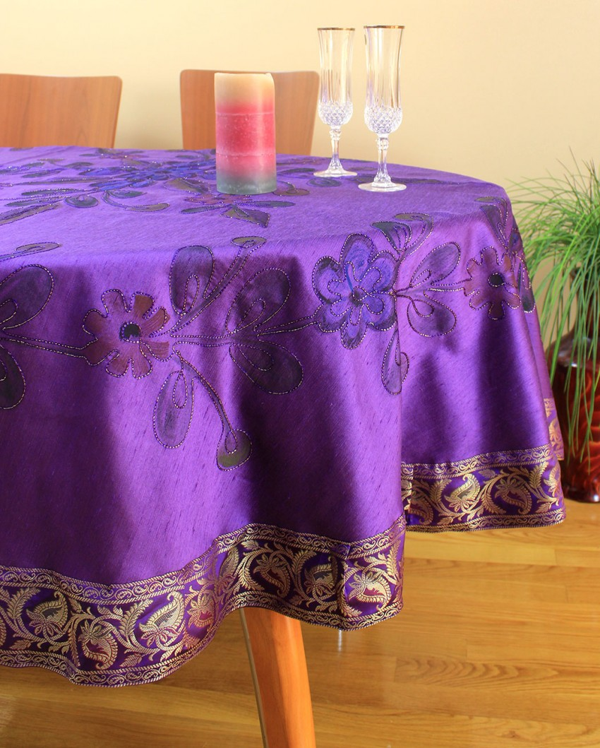 hand painted floral round tablecloth banarsi designs plumpurple accent hairpin table legs glass lamp shades lawn furniture small outdoor teak side arcadia battery operated led