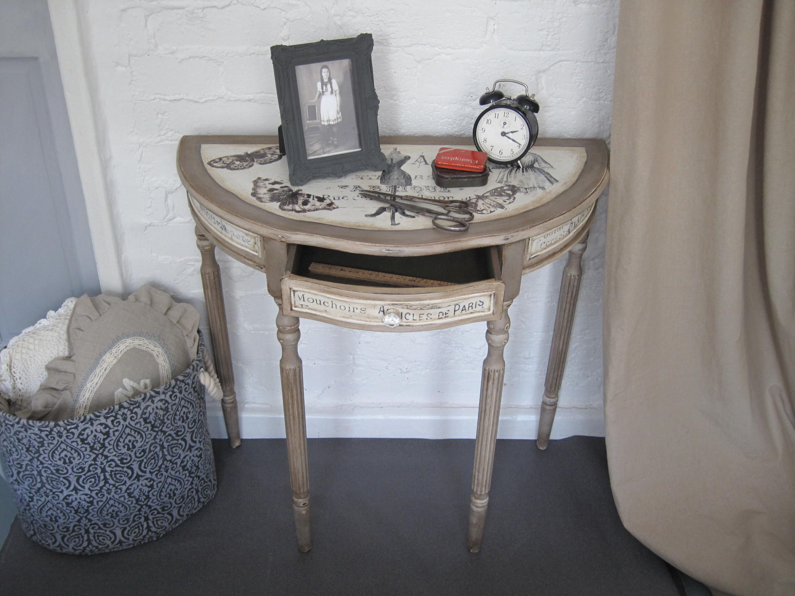 hand painted forme robe half moon console table shabby chic white accent style annie sloan chalk paints coco old over olive and cream oak telephone navy blue chair floor