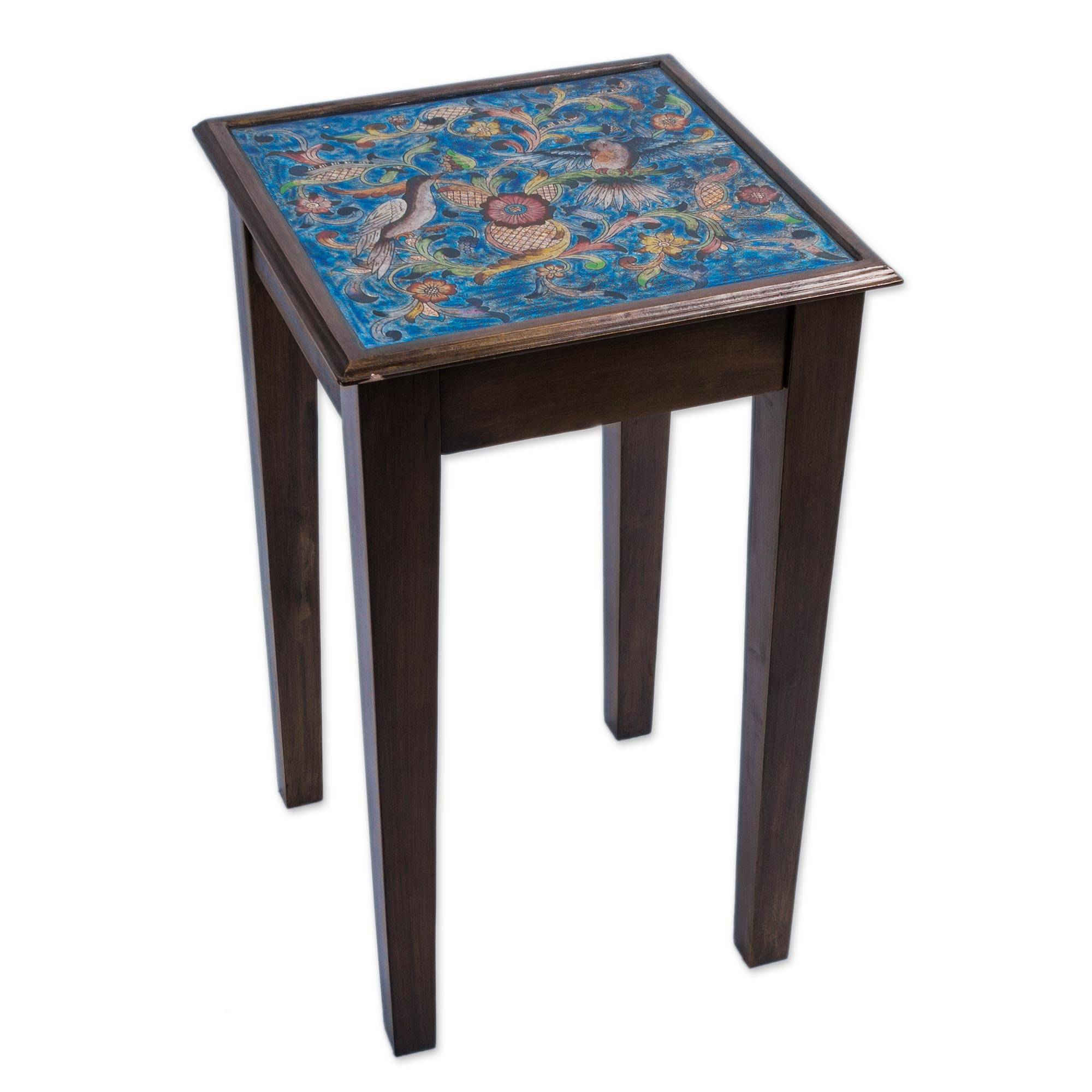 hand painted glass top wood accent table birds the heavens novica rustic coffee with shelf inexpensive console bedside lights outdoor folding end modern marble legs big round