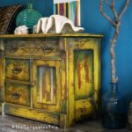 hand painted mustard yellow accent table makeover you don want miss the turquoise iris marble bistro hat stand dale tiffany crystal lamps circular glass side patio umbrellas white 150x150