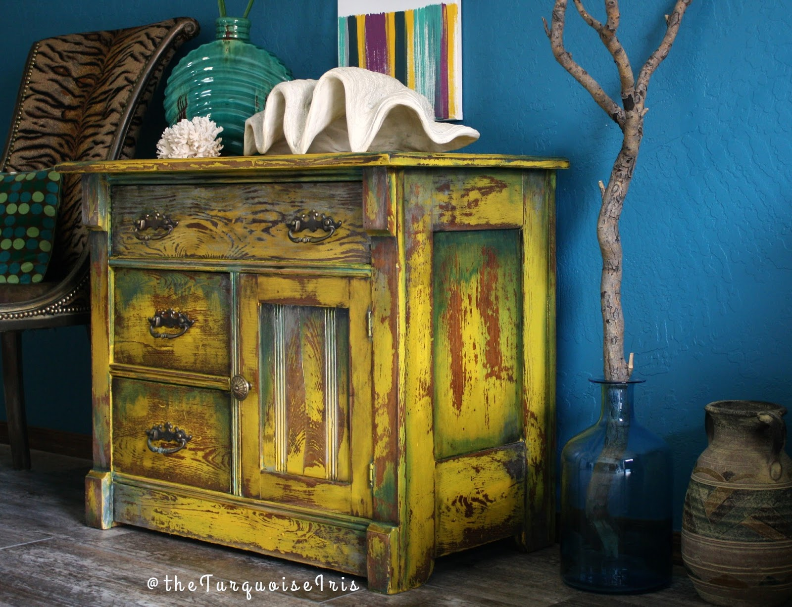hand painted mustard yellow accent table makeover you don want miss the turquoise iris marble bistro hat stand dale tiffany crystal lamps circular glass side patio umbrellas white