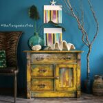 hand painted mustard yellow accent table makeover you don want teal miss small mirrored nightstand antique oak bedside tables oval glass top coffee distressed white set and gold 150x150