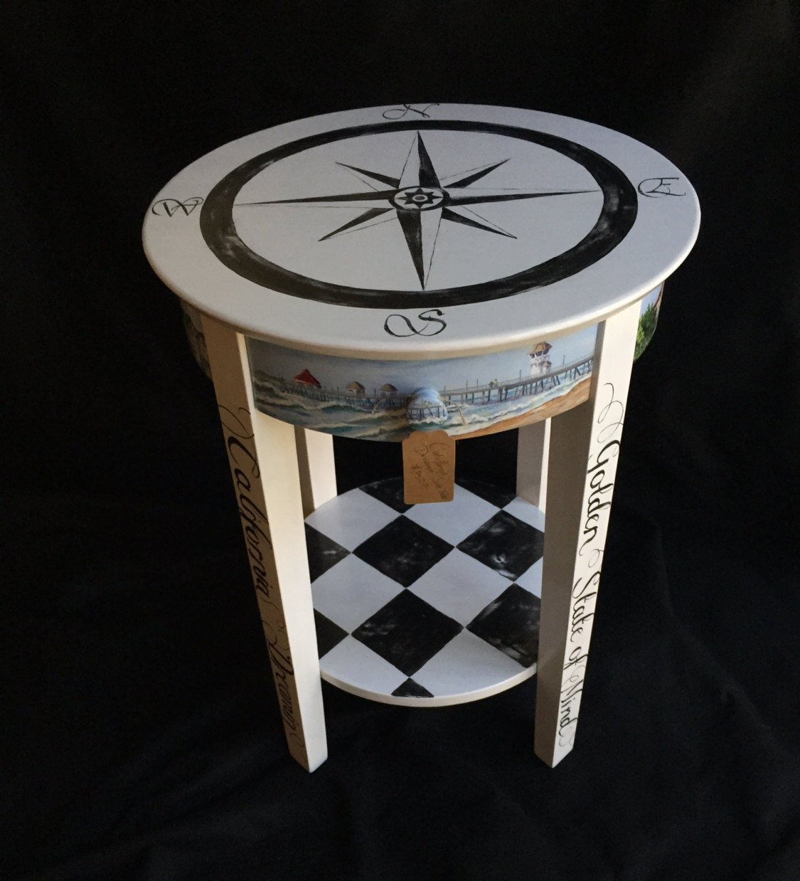hand painted southern themed accent table fullxfull oeru metal narrow end tables for living room home goods red tablecloth unique patio umbrellas round topper patterns grey