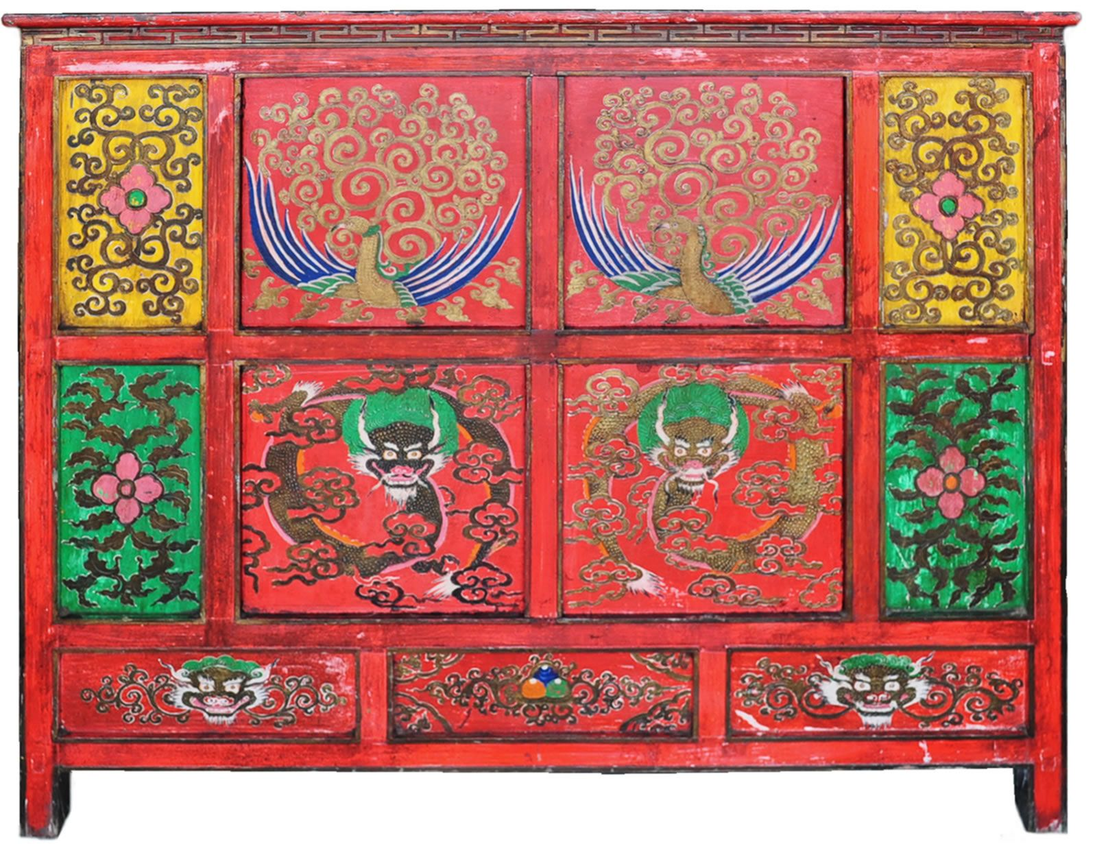 hand painted tibetan cabinet buddhist furniture lamas drum accent table offering altar chair dining metal end tables target resin wicker clearance glass decor barn wood wrought