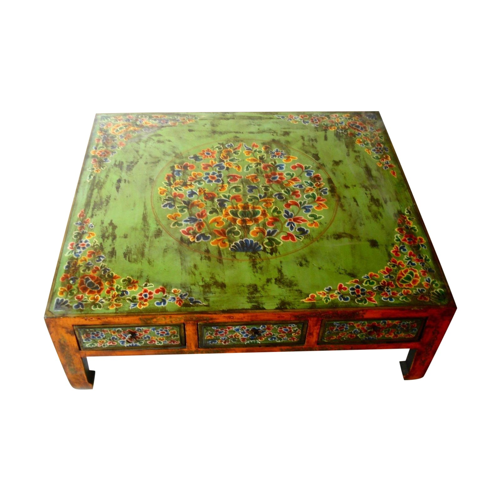 hand painted tibetan coffee table chairish drum accent round white wood basement furniture small farm hairpin legs metal end tables target threshold gold wine rack holder dog bath