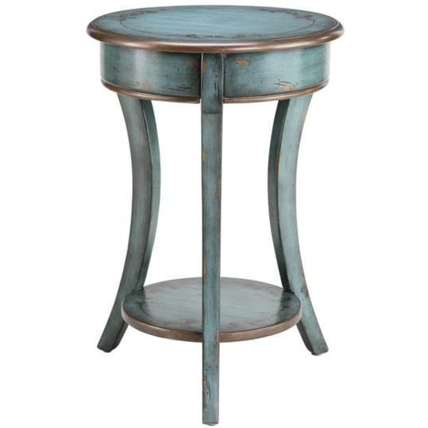 hand painted turquoise finish with bronze rub coffee and side simplify oval accent table brushed silver folding chairs ikea pottery barn art style end tables wide mirrored bedside