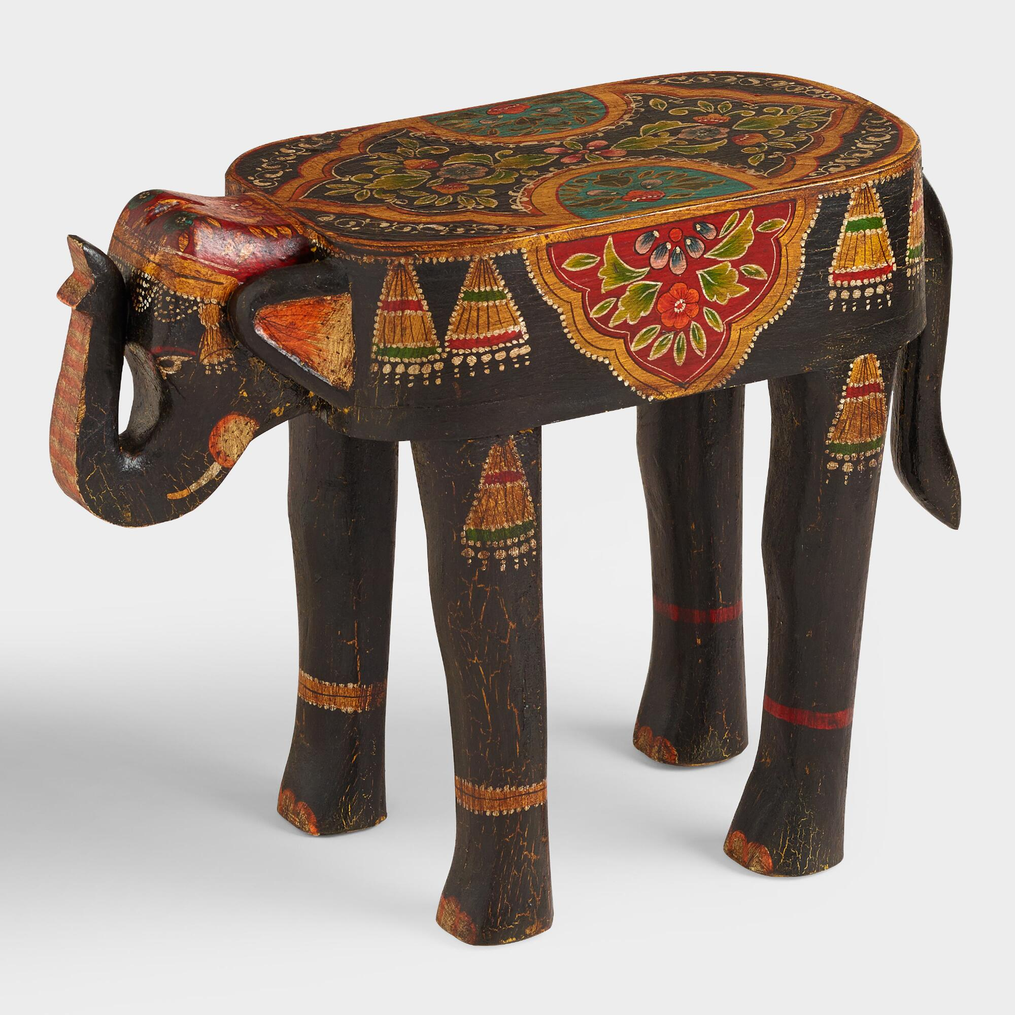 hand painted wood elephant accent table gray world market inexpensive console rustic dale tiffany ceiling lamps large bedside tables piece glass set legs entry way skinny couch