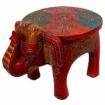 hand painted wooden elephant accent table jai deep art export wood modern glass coffee designs rustic inexpensive legs marble monarch grey low buffet lamps furniture small end 150x150