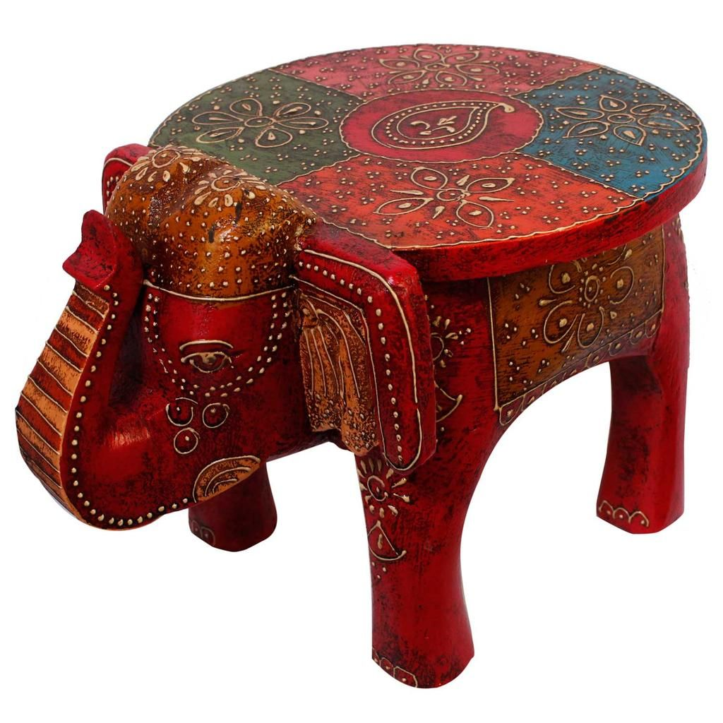 hand painted wooden elephant accent table jai deep art export wood modern glass coffee designs rustic inexpensive legs marble monarch grey low buffet lamps furniture small end