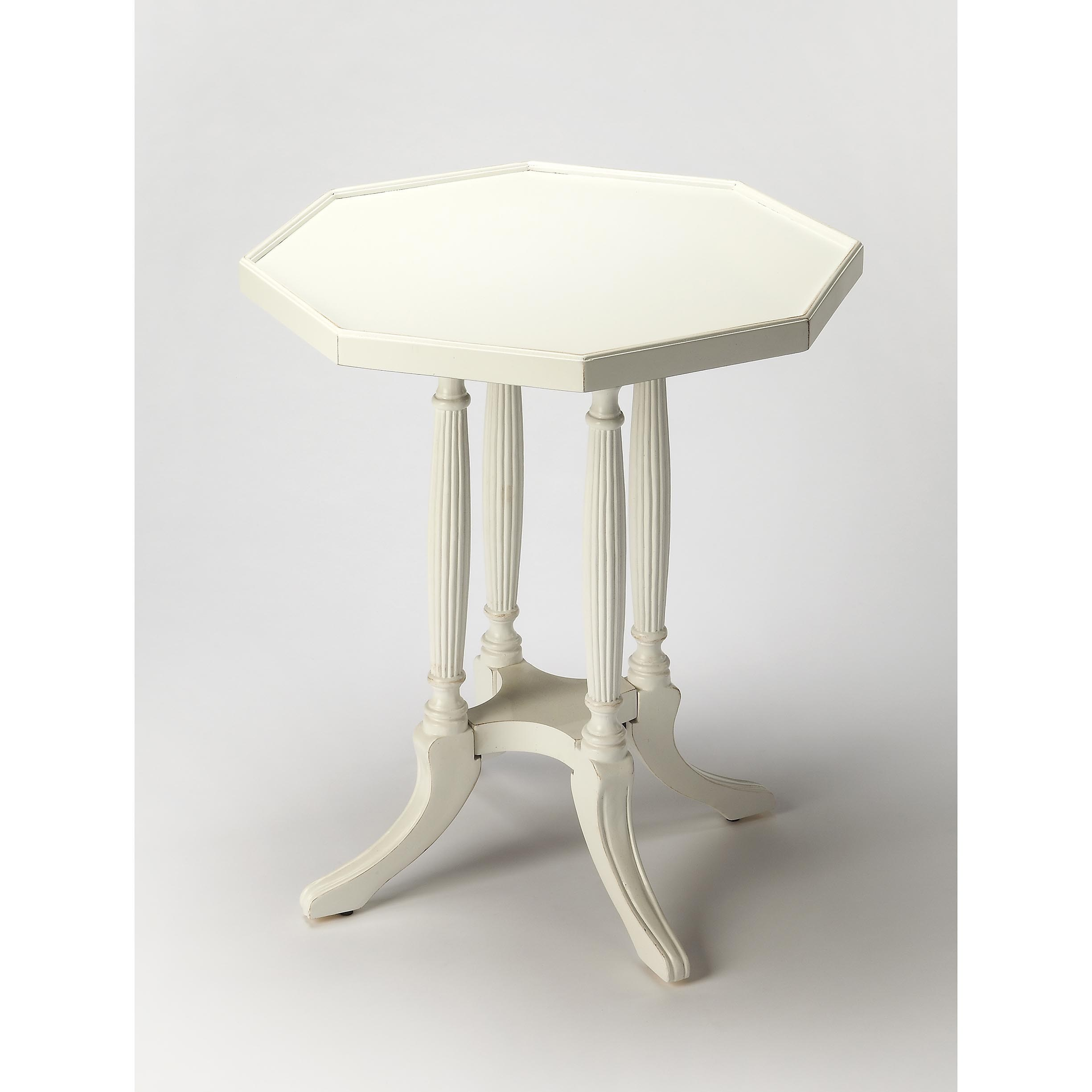 handmade butler adolphus cottage white wood octagonal end table accent free shipping today marble dinner set teak outdoor cream colored nightstand small decorative tables
