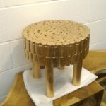handmade fir solid wood stool gold leaf accent table side rustic white leave mid century scandinavian modern styles nos natura furniture decor toronto handcrafted wooden oak nest 150x150