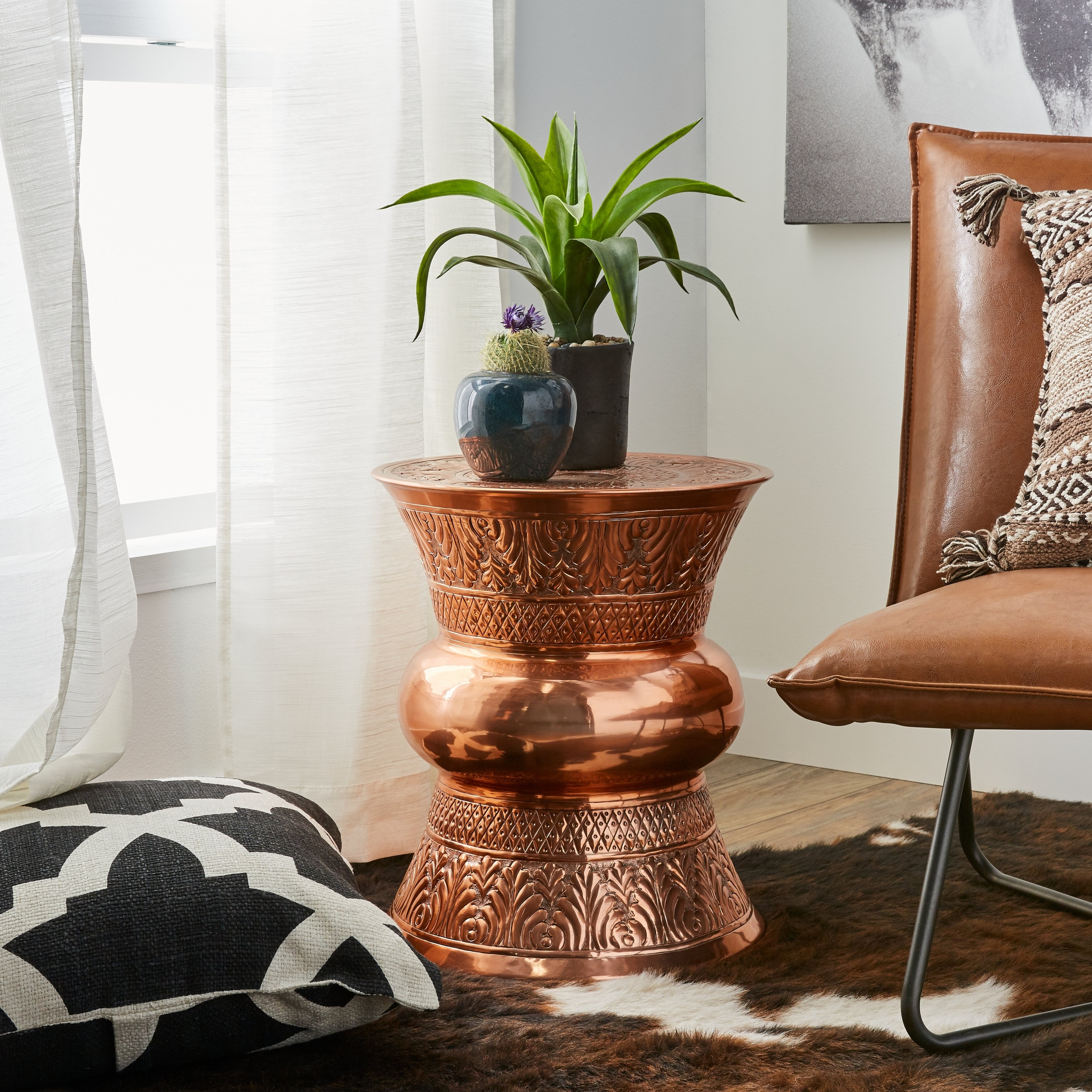 handmade hourglass shape copper end table free mosaic accent indoor shipping today gold garden stool west elm square patio umbrella asian lamp shade unfinished furniture side with