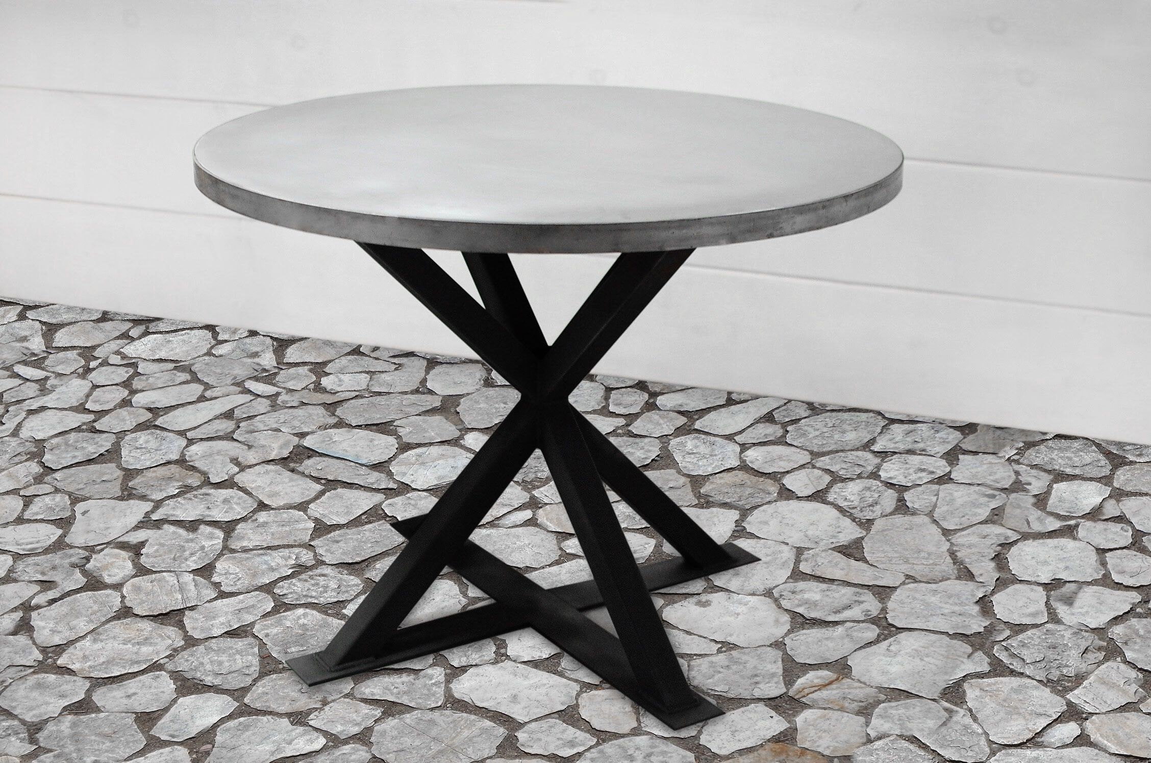 handmade kensington round zinc dining table southern sunshine accent custom made high end tables small stand marine style lighting fire pit and chairs west elm armoire multi