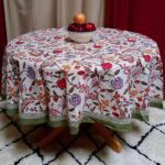 handmade lively floral brush stroke print cotton tablecloth green blue square rectangular round runner accent free shipping outdoor dining set cover glass and gold coffee table 150x150