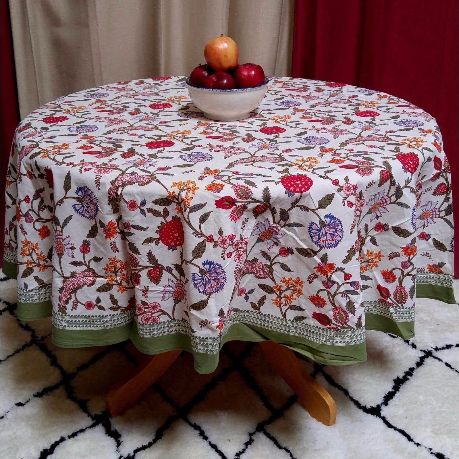 handmade lively floral brush stroke print cotton tablecloth green blue square rectangular round runner accent free shipping outdoor dining set cover glass and gold coffee table