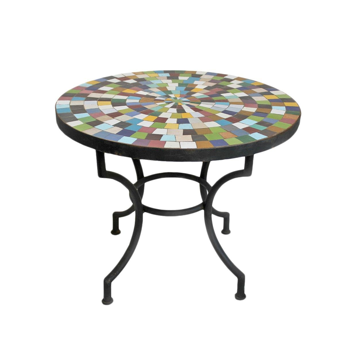 handmade mosaic tile side table chairish outdoor accent tall bistro metal drum storage lucite coffee round industrial baby changing unit with wheels counter drop leaf kitchen and
