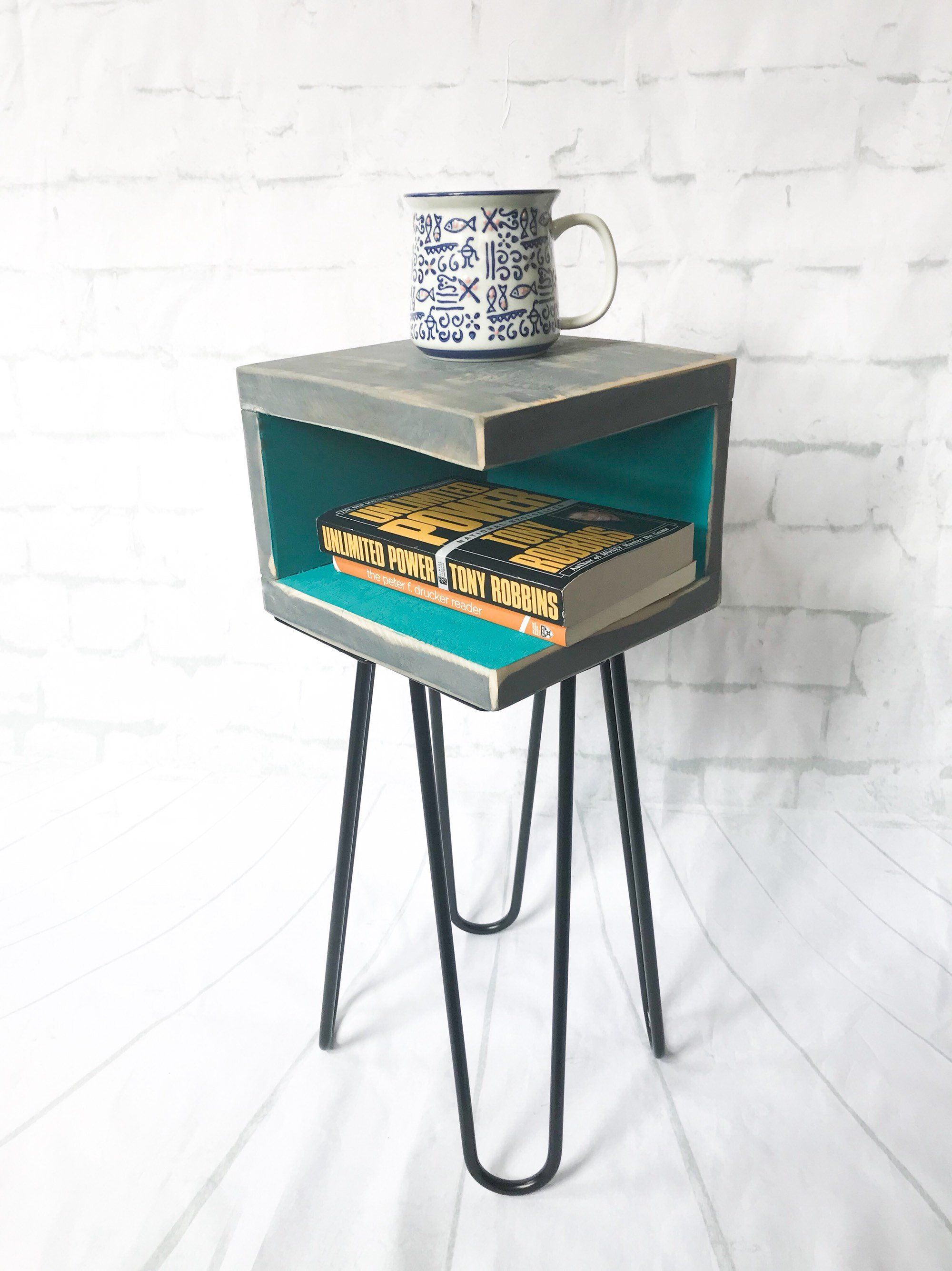 handmade nightstand modern mid century rustic retro small reclaimed wood accent tables furniture decor distressed end black and white geometric rug outdoor beach chrome coffee