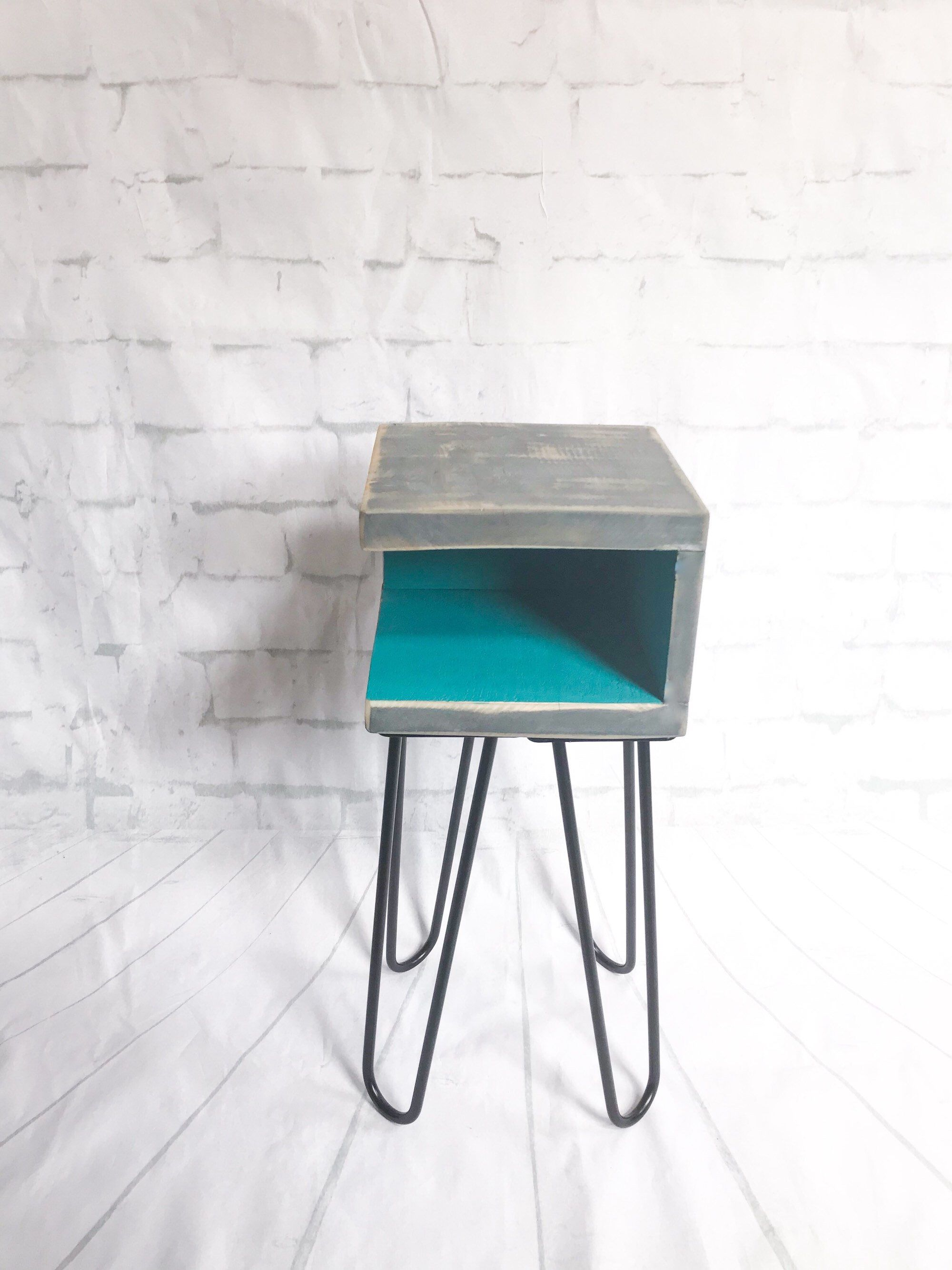 handmade nightstand modern mid century rustic retro small teal blue accent table side end tables midcentury hairpin distressed reclaimed barn wood coffee console with shelves and
